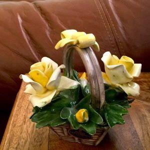 Vintage Nuova Capodimonte Porcelain Flower basket